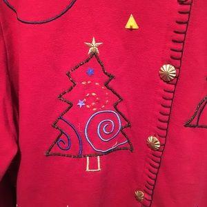 Size 1X fleece jacket with Christmas beading